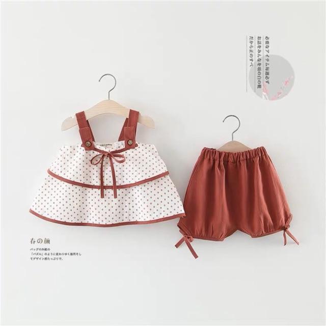 Set áo bi nhỏ hai dây kèm quần cho bé gái