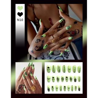 Bộ 24 móng tay giả họa tiết 3D chống thấm nước sành điệu N9-N11 3