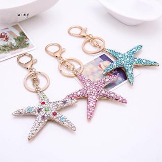 ★Lovely Starfish Rhinestone Pendant Key Chain Keychain Ring Bag Phone Car Decor