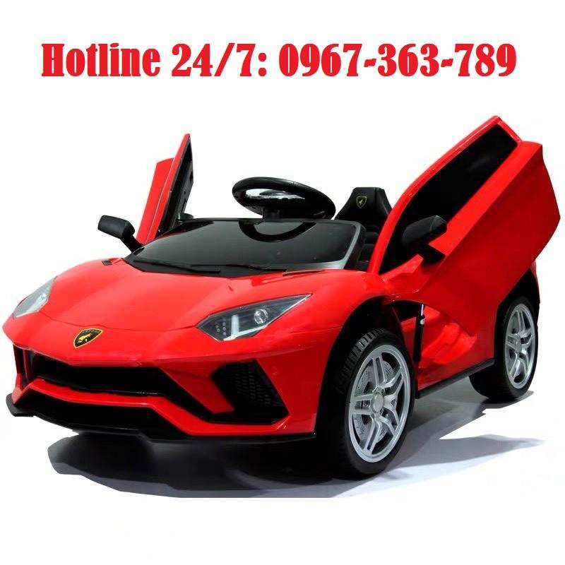 Ô tô xe điện đồ chơi vận động Lamboghini LT 998 cho bé 2 chỗ 2 động cơ (Đỏ-Cam-Trắng)