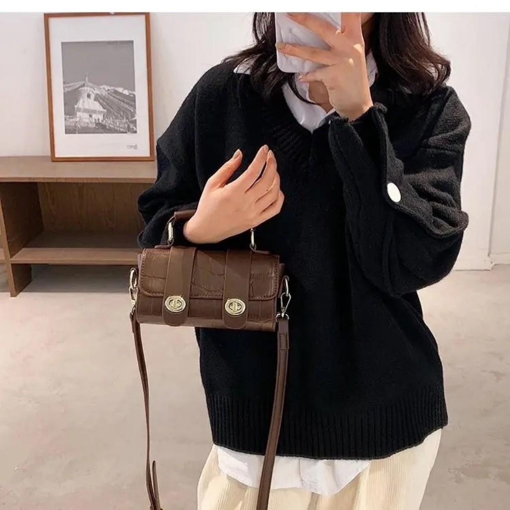 Túi Xách Mini Cầm Tay Nữ Chất Da Rắn Tặng Kèm Dây Đeo Chéo Size 18