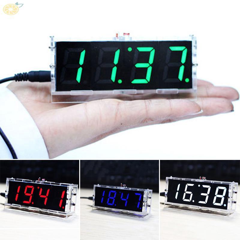 4-Digit LED Alarm Date Temperature Display DIY Kit Electronic Micro Controller Home Office Decorative Digital Clock
