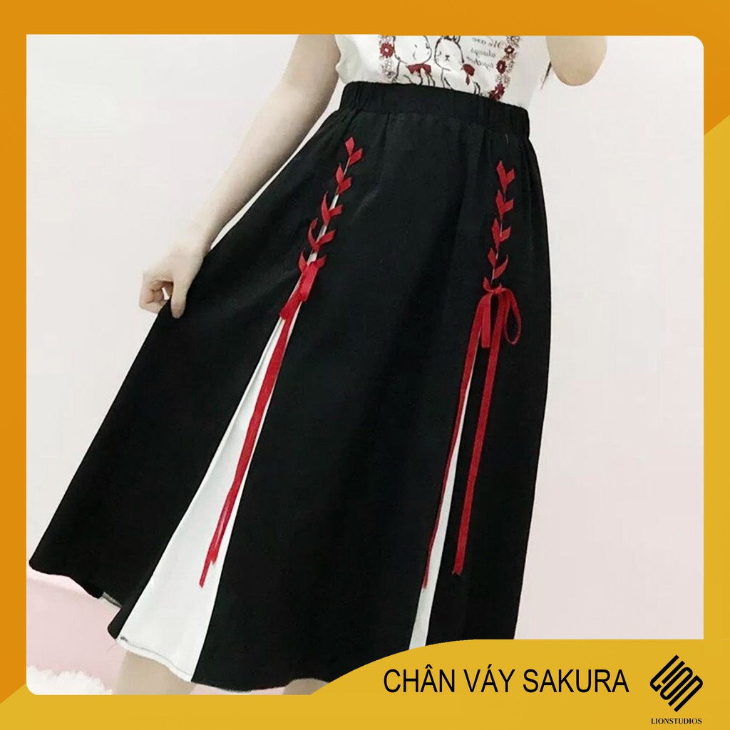 Chân váy đen phối trắng đỏ SaKuRa