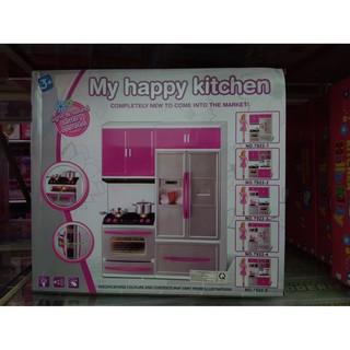 Hộp mô hình nhà bếp + tủ nướng + bồn rửa bát + búp bê