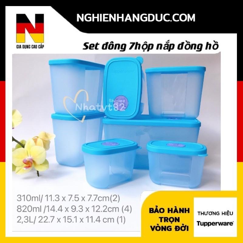 set 7 hộp trữ đông đồng hồ 2,3L / 2,6L / 820ml / 290ml tupperware