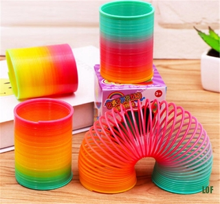 [lof] Plastic Classic Rainbow Circle Folding Coil Kids Creative Educational Gift Toys