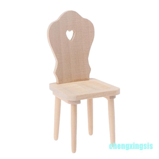 Cxsis 1:12 Dollhouse Miniature Mini Wood Chair Furniture Model Toys Accessories