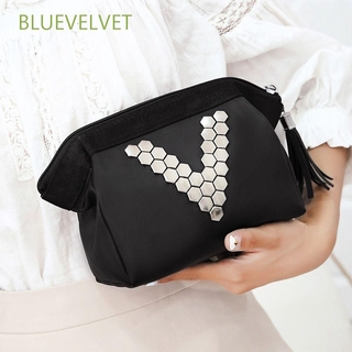 BLUEVELVET Women Makeup Case Letter Handbag Cosmetic Bag Travel Fashion Black PU Leather Zipper Toiletry Beauty Wash Storage Pouch/Multicolor