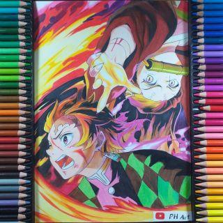 Tranh vẽ anime Tanjirou và Nezuko