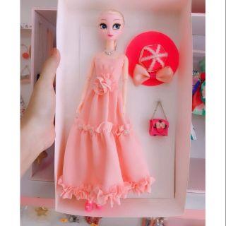 Bộ búp bê babies elsa đầm hồng