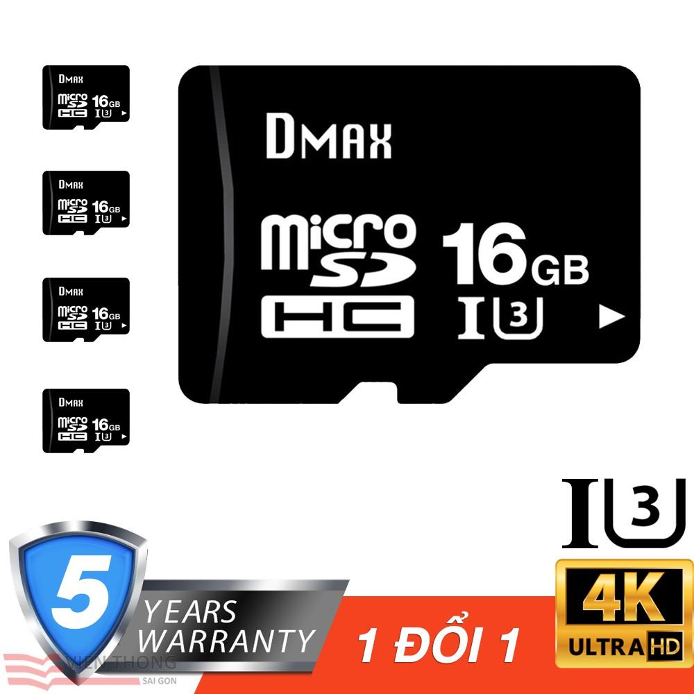 Bộ 5 Thẻ nhớ 16Gb tốc độ cao U3, up to 90MB/s Dmax Micro SDHC - Bảo hành 5 năm - 2764966 , 1084337165 , 322_1084337165 , 845000 , Bo-5-The-nho-16Gb-toc-do-cao-U3-up-to-90MB-s-Dmax-Micro-SDHC-Bao-hanh-5-nam-322_1084337165 , shopee.vn , Bộ 5 Thẻ nhớ 16Gb tốc độ cao U3, up to 90MB/s Dmax Micro SDHC - Bảo hành 5 năm