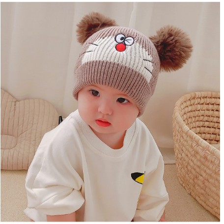Mũ Len Doremon Cho Bé,Nón Len 2 Quả Bông Hình Mèo Cho é Trai/Bé Gái Dưới 2 Tuỏi