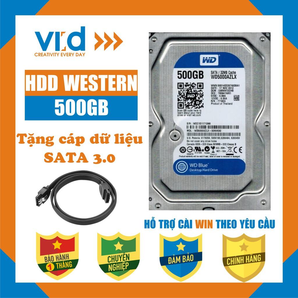 Ổ cứng HDD 500GB Western – Tặng cáp Sata 3.0 – Hàng nhập khẩu tháo máy đồng bộ mới 99% – bảo hành 1 tháng Giá chỉ 260.000₫