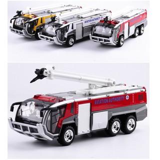 Xe ô tô cứu hỏa bằng sắt chạy cót có âm thanh đèn nháy mô hình xe vòi phun có thể nâng hạ thumbnail