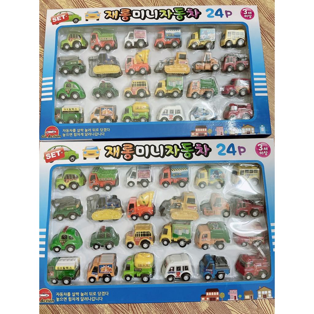 Set 24 xe đồ chơi mini cho bé nội địa Hàn Quốc ( xe kéo lùi được )