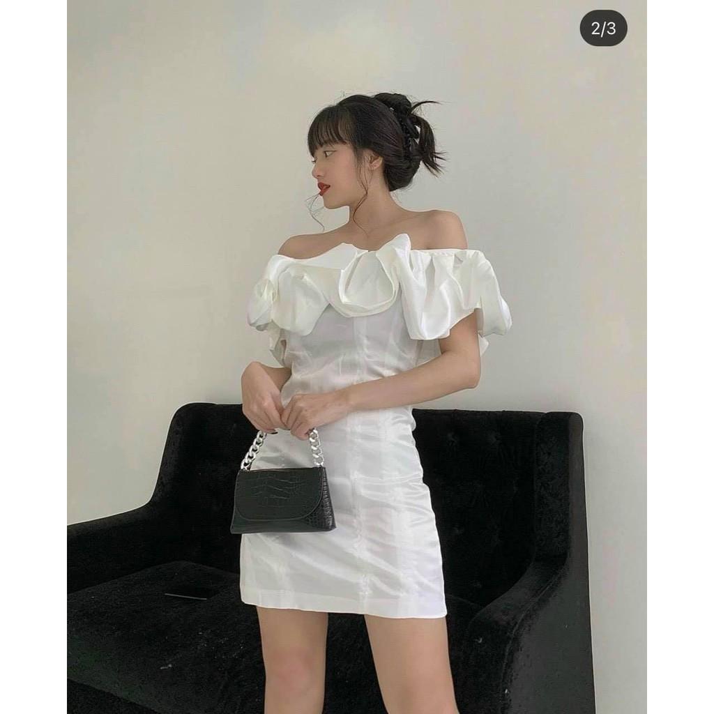 💥 Đầm trễ vai bèo - Váy trắng xòe bồng sang chảnh💞 | Kèm theo ảnh thật Shop tự chụp🎉