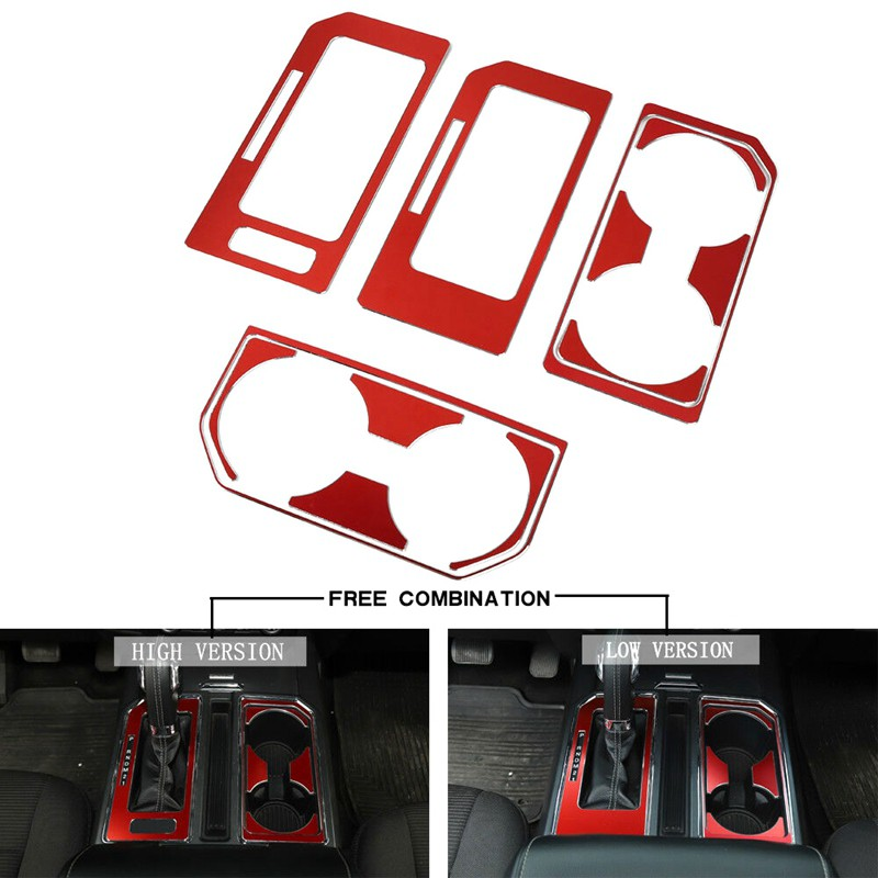 Gear Shift Panel & Cup Holder Frame Trim Cover for Ford F150 (Red)