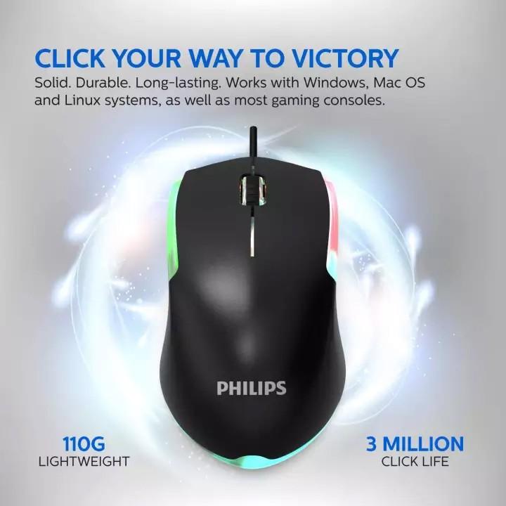 Chuột game Philips SPK9314 (G314) led đa màu - DPI 1200 phủ UV không bóng (đen)