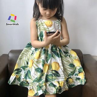Váy cho bé gái - Đầm hai dây đuôi cá hình quả chanh mềm mát S310