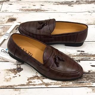 Giày Da Nam Công Sở Chất Liệu Da Bò Thật GY051 Nâu