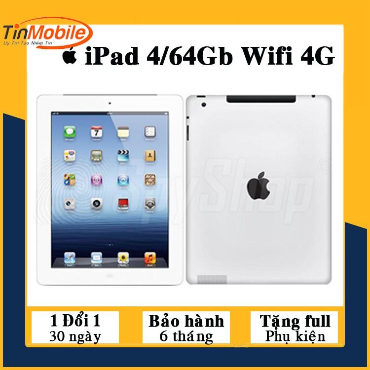 Máy Tính Bảng iPad 4 - 128Gb/ 64Gb/ 32Gb/ 16Gb ( Wifi + 4G) - Zin Màn Đẹp - Pin cực trâu
