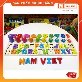 Bộ học bảng chữ Tiếng Anh, chữ số, nhận dạng hình khối và tập đếm bằng gỗ