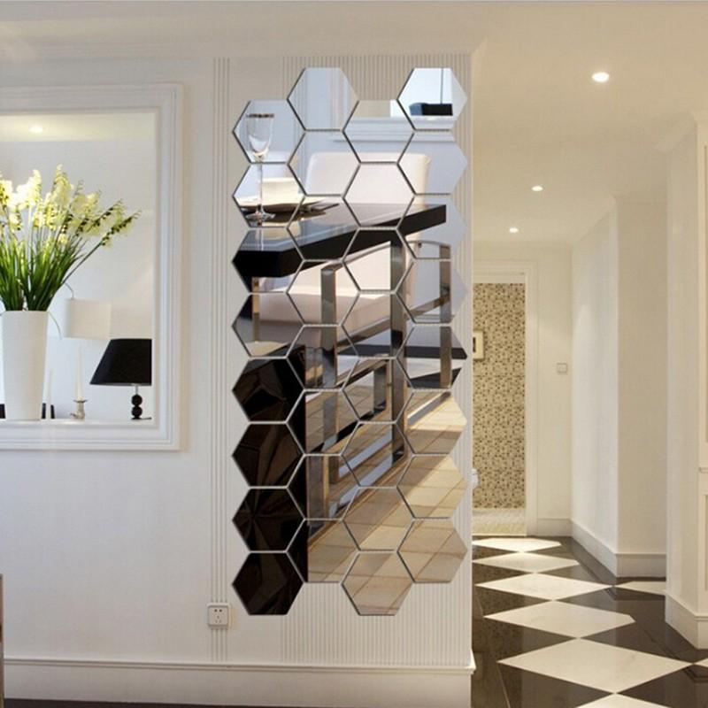 Miếng Gương dán tường hình lục giác 3D hiệu ứng gương dùng trang trí phòng khách