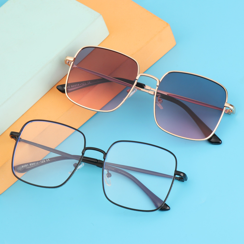 WATTLE Women Anti-Blue Light Glasses Computer Eye Protection Glitter Eyeglasses Portable Oversized Fashion Square Vintage Ultra Light Frame