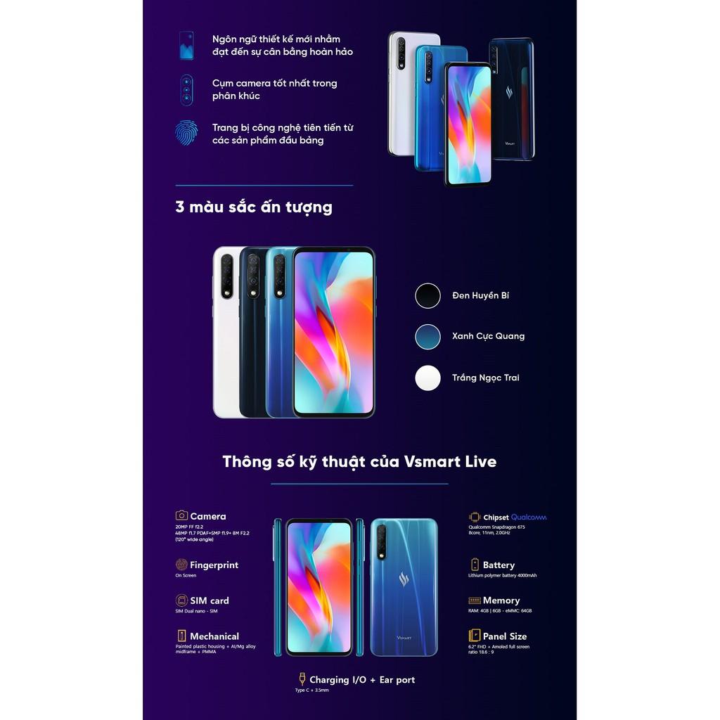 Điện thoại Vsmart Live - 6GB RAM, 64GB, 6.2 inch