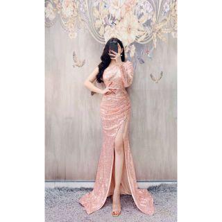 Đầm dạ hội kim sa dài tay cao cấp tặng hoa tai
