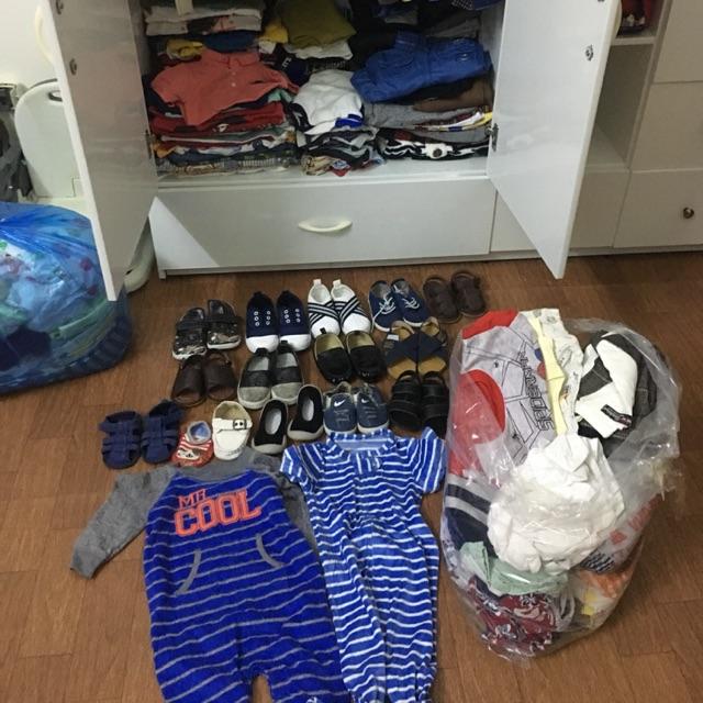 Combo Nhung Hoang cho bé trai dưới 15kg, gồm quần áo giày và mũ, tất cả đều là chất liệu đẹp mặc thoải mái cho bé trai ạ