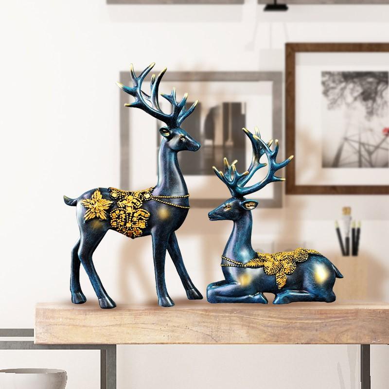 Tượng trang trí cặp hươu xanh phát tài - F20Beauty - Phong cách hiện đại
