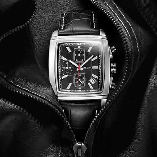 Đồng hồ nam MEGIR MG01 dây da chống nước cao cấp 6 kim có lịch mặt vuông chống xước