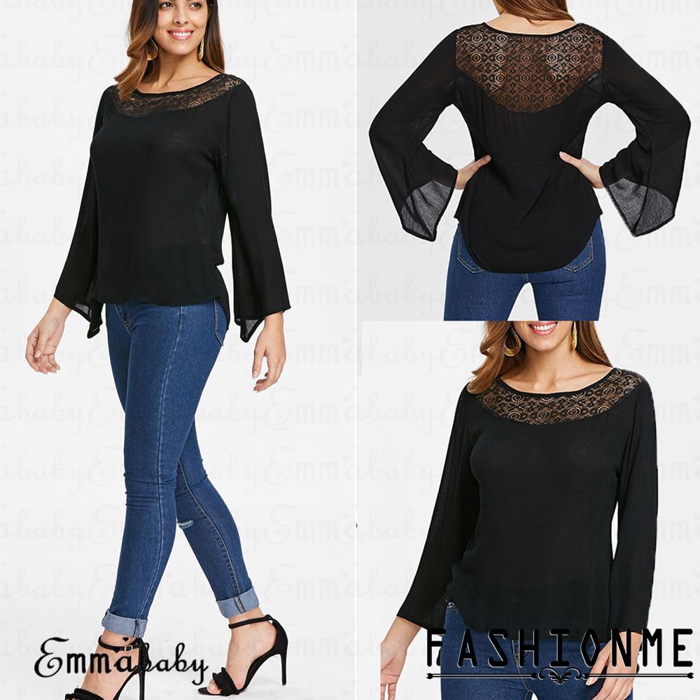 ღ𝓂ℰ2019 New Women´s Black Long Sleeve Lace Loose T-Shirt Pullover Tops Casual Blouse