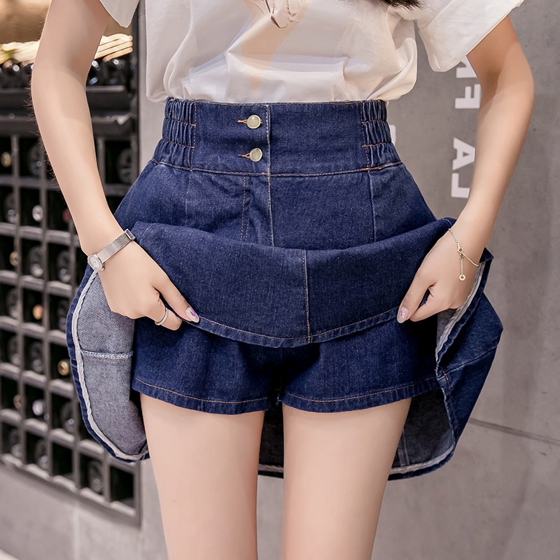 ♤℗Tight waist denim skirt half high thin pleated anti-walking a word fluffy skirts female xia students