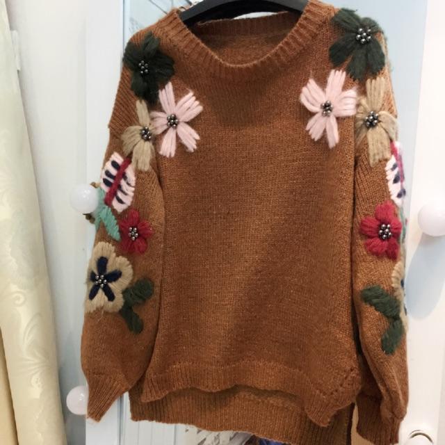 áo len thêu hoa