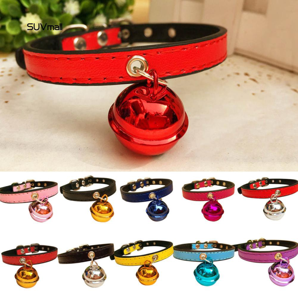 SUV_Fashion Christmas Party Puppy Dog Cat Kitten Faux Leather Bell Necklace Collar