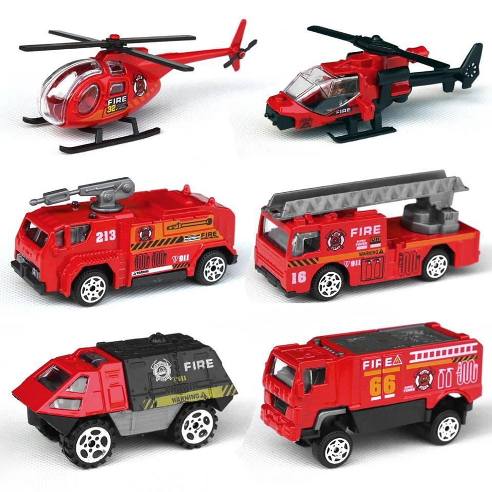 [Mã TOYJAN hoàn 20K xu đơn 50K] Hộp 6 ô tô máy bay cứu hỏa bằng sắt cho bé
