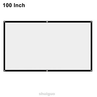 16:9 White Home Theater Indoor Outdoor No Crease With Hanging Holes HD Clear Image Reinforced Edge Projection Screen