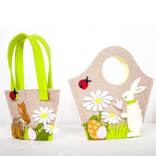 Nordic Style Vintage Easter Handbag Rabbit Egg Gift Candy Storage Tote Bag Basket Party Favor