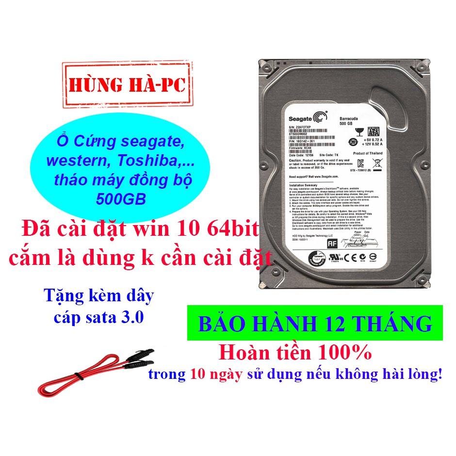 Ổ Cứng HDD 500GB bảo hành 12 tháng Hàng tháo máy đồng bộ đã cài win 10 64 bit Giá chỉ 310.000₫