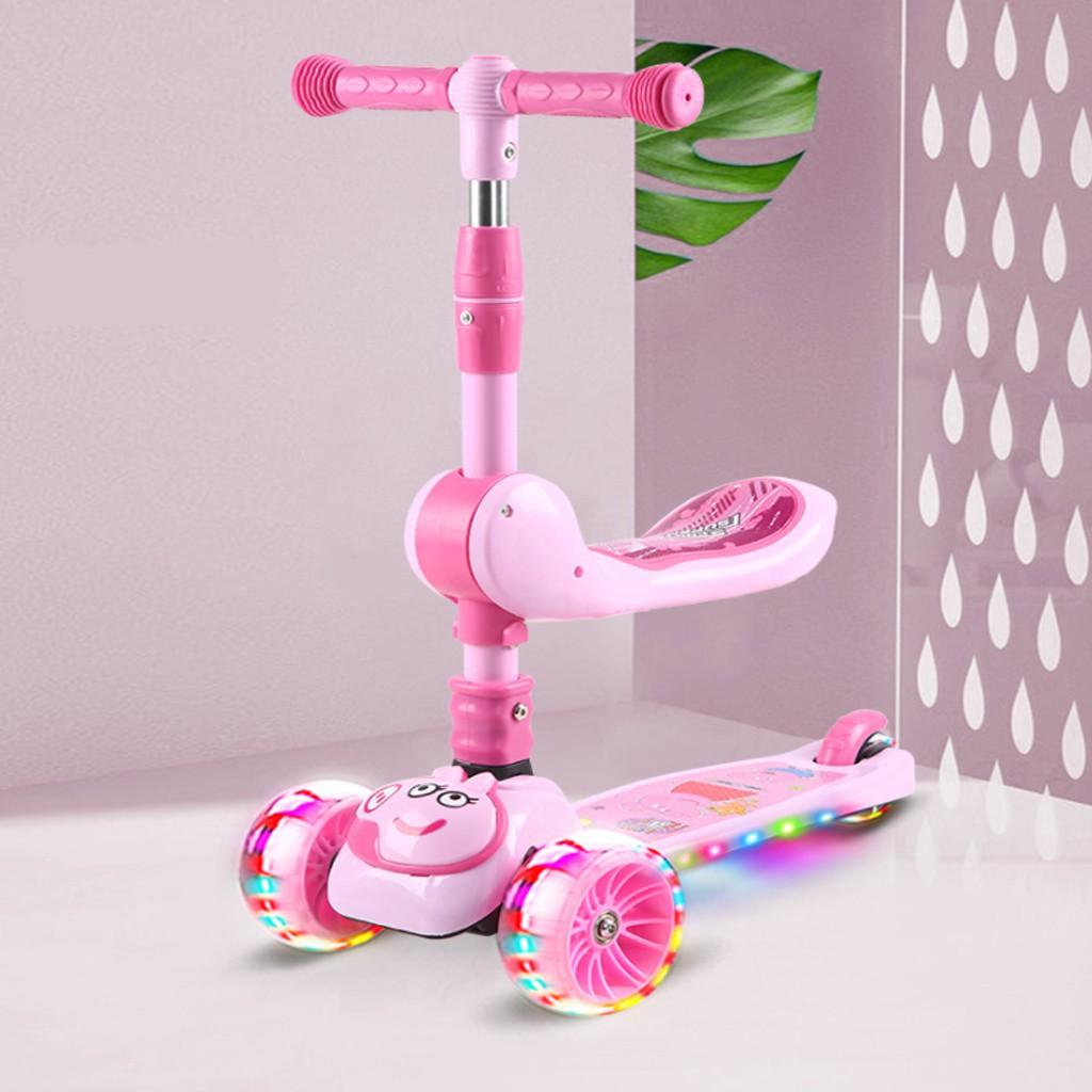 [FREESHIP] Xe trượt scooter cho bé , có nhạc có đèn kiêm xe chòi chân 2 trong 1, Xe trượt có ghế ngồi cho bé