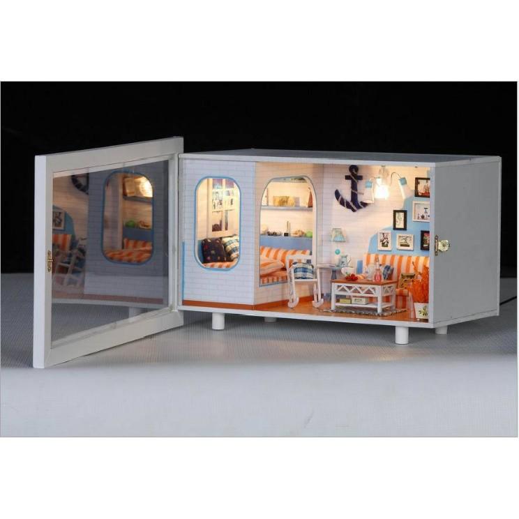 Bộ khung tranh âm tường mô hình nhà búp bê chủ đề Biển và gia đình yêu thương