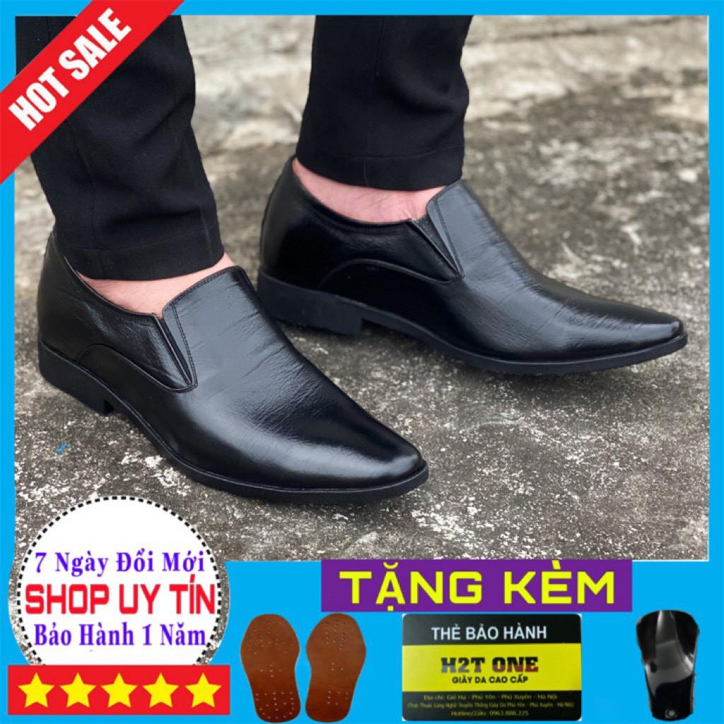 Giày tăng chiều cao nam💖 DA BÒ THẬT 💖Giày tây nam cao cấp - da bò - đế cao su 6,5cm GC633