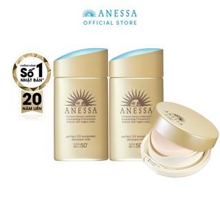Bộ kem chống nắng Anessa dưỡng da gấp đôi bảo vệ hoàn hảo và kem chống nắng trang điểm dạng nén tông tự nhiên ( SPF 50+) thumbnail