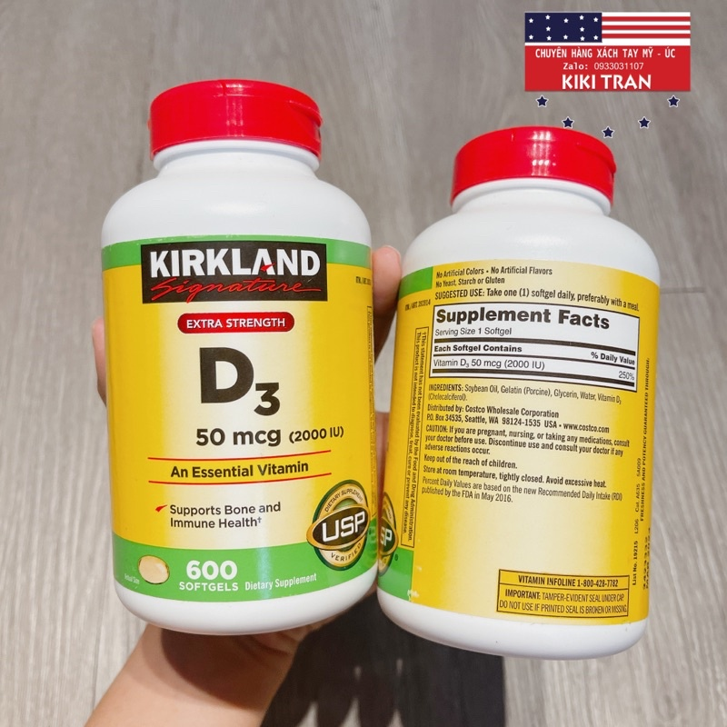 Vitamin D3 50mcg Kirkland 600 viên