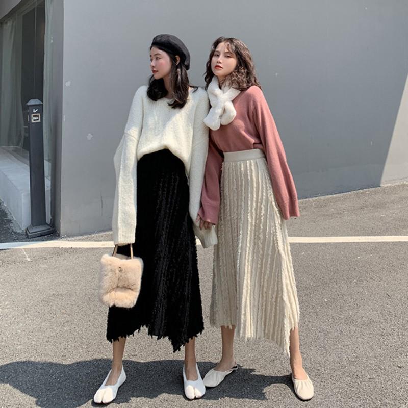 สาวเกาหลีแต่งตัวหญิง 2019 เวอร์ชั่นเกาหลีใหม่ของฤดูใบไม้ร่วงและฤดูหนาวห้อยเซ็กซี่ขนนกหรูหราถัก