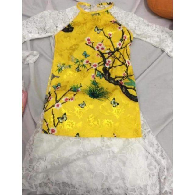 Áo dài cách tân cho bé gái có màu vàng rất đẹp