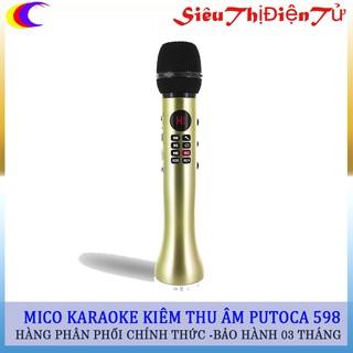 Mic karaoke bluetooth kiêm thu âm PUTOCA 598 cao cấp hỗ trợ thẻ nhớ TF ghi âm