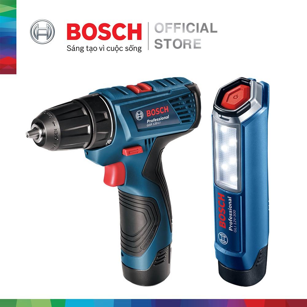 Bộ combo Máy khoan vặn vít dùng pin Bosch GSR 120-LI - Tặng Đèn pin GLI 120-LI (2 pin 1.5 Ah + 1 sạc